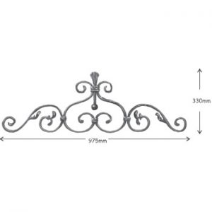 12mm x 6mm Plain Bar Top Scroll 975mm Long 330mm High 36 2a