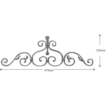 12mm x 6mm Plain Bar Top Scroll 975mm Long 330mm High 36 2a
