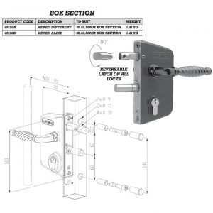 Locinox Lock To Fit 30mm 40mm and 50mm Box Section Keyed Alike 46/20b-0