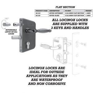 Locinox Lock To Fit 10mm 20mm and 30mm Flat Bar Keyed Alike 46/21b-0