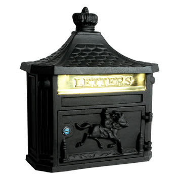 Black Cast Aluminium Letterbox Front Opening 465mm High 405mm Wide 155mm Deep 55 8a